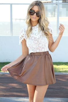 Lace top Brown Skirt
