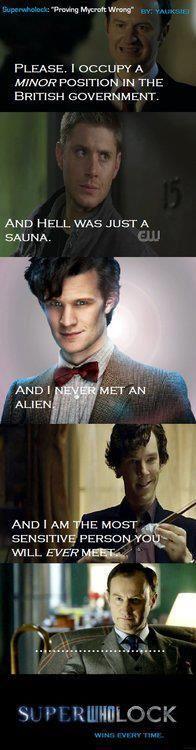 I love when fandoms collide.  Supernatural. Sherlock. Dr Who.