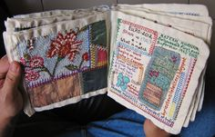 misako mimoko: Inspiration: Embroidered Textile Art Books and Journals Embroidery Sampler, Cross Stitch Embroidery, Embroidery Patterns, Hand Embroidery, Embroidery Books, Handmade Journals, Handmade Books, Quilt Studio, Fabric Journals