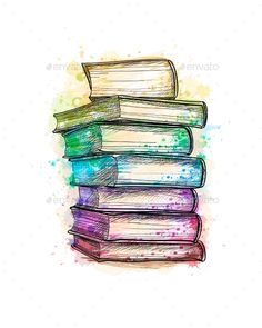 Buy Stack of Multi Colored Books by kapona on GraphicRiver. Stack of multi colored books from a splash of watercolor, hand drawn sketch. Vector illustration of paints Tattoo Buch, Book Tattoo, Tattoo Quotes, Watercolor Books, Watercolor Paintings, Art Sketches, Art Drawings, Tattoo Sketches, Tattoo Drawings
