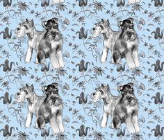 schnauzers in the flower garden fabric by dogdaze_ on Spoonflower - custom fabric