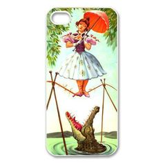 Girl on a Tightrope with Crocodile Fun Case for iPhone 4 4s, 5 5s, 5c, SE. 6 6s & Plus