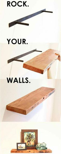 DIY Floating Shelves - 4 Most Simple Ideas: Floating Shelf Under Mounted Tv Tvs industrial floating shelves around tv.Floating Shelves Over Tv Bathroom black floating shelf hallways.Floating Shelves Above Couch Layout. Shelves Above Couch, Shelves Around Tv, Wall Shelves, Wood Shelf, Tv Shelving, Modern Shelving, Wood Desk, Book Shelves, Floating Shelves Diy