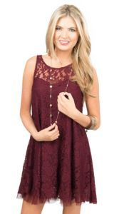 Others Follow Wine Lace Deer Lucy Sleeveless Dress | Cavender's
