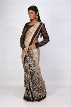 Mix & Match Tussar Black Ghicha Saree - Light Party Sarees - Sarees