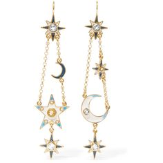 Percossi Papi Gold-plated multi-stone earrings (€515) ❤ liked on Polyvore featuring jewelry, earrings, accessories, percossi papi, pendant earrings, charm jewelry, chain pendants, gold plated indian jewelry and pendant charms