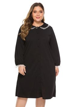 Day H-line Peter Pan Collar Black Knee Buttoned Dress Formal Skirt And Top, Skirt And Top Set, Plus Size Flapper Costume, Plus Size Dresses, Plus Size Outfits, Gatsby Dress, Flapper Dresses, Size Zero, Girl With Curves