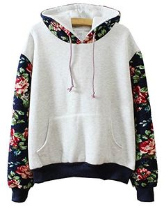 Welity Women's Vintage Floral Stylish Hoodie Fleece Sweatshirt Pullover Grey Welity Women Clothing<<< http://www.amazon.com/dp/B00QVI7EXQ/ref=cm_sw_r_pi_dp_MulSub07TYMRB