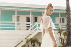 Long dress with star lace top, covered deep V neckline and flowy short sleeves. Flowing Wedding Dresses, Lace Wedding Dress, Bohemian Wedding Dresses, Wedding Gowns, Rembo Styling, Flowy Shorts, Star Wedding, Lace Tops, Bridal Collection