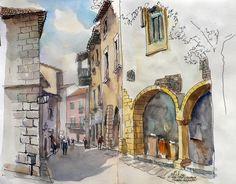 Urban Sketchers Spain.  Eduardo Vicente: El Pueblo Espanyol, Calle de Mercaders (Brcelona)