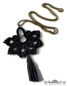 Blue-black bohemian statement pendant with by MypreciousCG on Etsy