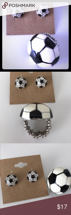 💎/black onyx accent soccer earring/ring set Super cute brand-new earrings with adjustable to any size soccer ring set Macy's Jewelry Earrings