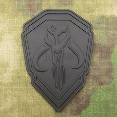Black STAR WARS Boba Fett Mandalorian Bantha Skull BOUNTY HUNTER 3D PVC Velcro Patch PB1426-in Badges from Apparel & Accessories on Aliexpress.com | Alibaba Group