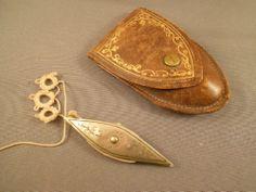 Old Vintage Antique Silver Tatting Shuttle w Leather Case Peruzzi Firenze | eBay