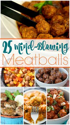All 25 of these mind-blowing meatball recipes are sure to dazzle your tastebuds and make your dinner planning tonight a little bit easier! Meatball Recipes, Pork Recipes, Asian Recipes, Cooking Recipes, Slow Cooking, Sweet And Sour Meatballs, Tasty Meatballs, Supper Recipes, Healthy Dinner Recipes