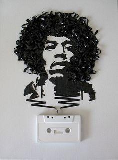 Amazing cassette tape art by Erika Iris Simmons. Ghost in the Machine: Jimi Hendrix Jimi Hendrix, Cassette Tape Art, Vhs Tapes, Tachisme, Instalation Art, Ghost In The Machine, No Photoshop, Recycled Art, Street Art