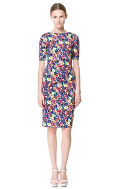 BNWT Celebrity ZARA Floral Flower Print Midi Stretch Pencil Dress - Size M