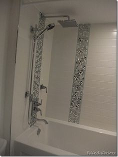 We added a 4 wide vertical accent stripe to the shower - Bathroom tile vertical stripe ...