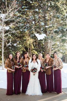 Ideas For Wedding Winter Mountain Bridesmaid Dresses Winter Wedding Bridesmaids, Winter Bridesmaid Dresses, Wedding Dresses, Winter Weddings, Burgundy Bridesmaid, Wedding Dress With Shawl, Cranberry Bridesmaid Dresses, Bridesmaid Colours, Dreams