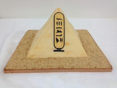 Pyramid cake complete with name in  hieroglyphs and edible sand