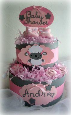 """Gâteau de couches fille """"Mouton calin"""" - Diaper cake spécial babyshower  Cadeau de naissance original  : Décoration pour enfants par 3kg190"""