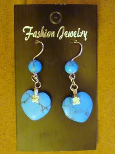Turquoise Heart Earrings with Matching Beads. Buy now $9.49 Click pic for info.