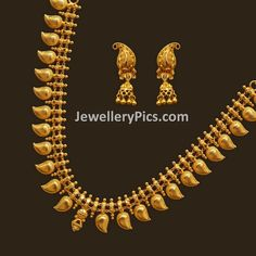 Fancy gold mango haram in light weight Antique Jewellery Designs, Gold Earrings Designs, Gold Jewellery Design, Necklace Designs, Gold Designs, Bead Jewellery, Temple Jewellery, Mango Necklace, Gold Necklace