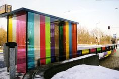 colored bus stop