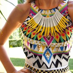 Love this necklace over the print - Aztec eat your heart out!