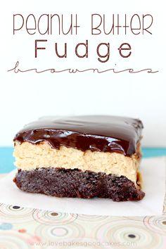 Peanut Butter Fudge Brownies | AllSheCooks.com | #fudge #brownies #peanutbutter #sweets #chocolate