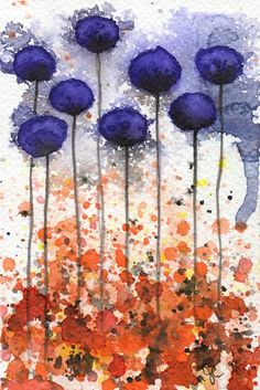 Buy 2 Get 1 FREE -- Watercolor Painting: Watercolor Flowers -- Art Print --  All Mixed Up  -- Purple Flowers -- 5x7