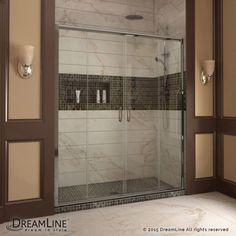 Choose the perfect solution for a bathroom remodel or tub-to-shower conversion project with a DreamLine shower kit This kit includes a DUET bypass sliding shower door and a coordinating SlimLine shower base The DUET has two sliding glass panels that . Shower Remodel, Bath Remodel, Framed Shower Door, Shower Walls, Shower Tub, Frameless Sliding Shower Doors, Sliding Panels, Sliding Door, Modern Bathroom Decor