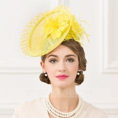 f6375f9b2a390 Ladies  Beautiful Linen With Feather Fascinators (196095282) - Hats -  JJsHouse Floral Fascinators