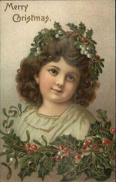 Christmas Holly Girl Image - So Beautiful! - The Graphics Fairy Vintage Christmas Images, Old Fashioned Christmas, Christmas Past, Victorian Christmas, Retro Christmas, Christmas Pictures, Christmas Angels, Christmas Greetings, Christmas Crafts