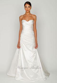 monique lhuillier - wedding dress - bridal - bliss - 2012 - bl1201 - ivory satin strapless sweetheart asymmetric draped drop waist bodice with full skirt