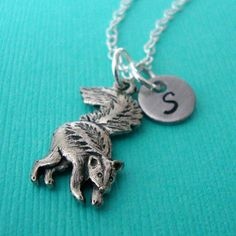 Little Silver Skunk Charm Necklace with Personalized Hand Stamped Initial Charm - animal - customized jewelry on Etsy, $16.50