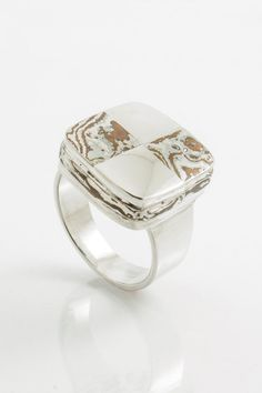 Checkmate: A rugged yet modern Mokume Gane & Sterling Silver ring by JewelleryForMenByJHL. Perfect for everyday wear! $290.00