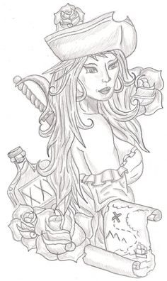 Wonderful Grey Ink Pirate Girl With Roses Tattoo Design