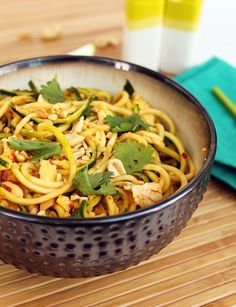Vegetarian Zucchini Noodle Pad Thai sub out almonds or cashews for peanuts, sub out peanut oil for coconut oil,xylitol for honey if you want and you could add in some leftover proteins