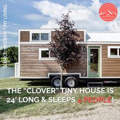 """The """"Clover"""" tiny house is long & sleeps 4 people! It features a beautiful, open floor plan with a built-in living area that seats 5 people & also converts into a full-size… Continue Reading → Tiny House Village, Building A Tiny House, Tiny House Cabin, Tiny House Living, Tiny House Plans, Tiny House On Wheels, Tiny Home Floor Plans, Container House Design, Small House Design"""