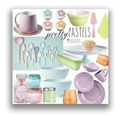 """Pastel Decor"" by marionmeyer on Polyvore featuring interior, interiors, interior design, Zuhause, home decor, interior decorating, Kilner, Portmeirion, Rosanna und Sabre Flatware"