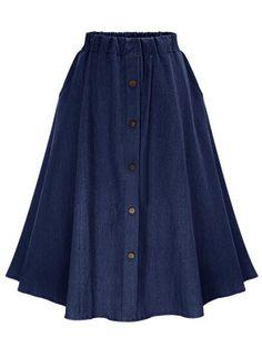 Shop Navy Elastic Waist Denim Flare Skirt With Buttons online. SheIn offers Navy Elastic Waist Denim Flare Skirt With Buttons & more to fit your fashionable needs. Long Pleated Maxi Skirt, Long Blue Skirts, Long A Line Skirt, A Line Denim Skirt, High Waisted Denim Skirt, A Line Skirts, Denim Skirts, Maxi Skirts, Waist Skirt