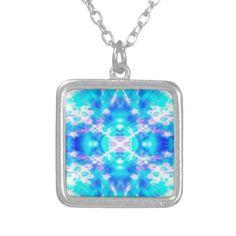 Blue kaleidoscope pattern square pendant necklace