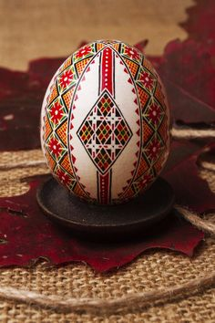 """Painted Easter egg. A note on pronunciation, despite what you may have heard on television, a supplier of pysanky tools or from an instructor in a local class, """"Pysanka"""" is correctly pronounced """"Pih-sahn-kah"""" with the plural """"Pih-sahn-kih"""". All with short vowels. The term """"pysanky"""" is not, never was, nor will it ever be correctly pronounced """"pie-SAN-kee or pizz-an-ki"""""""