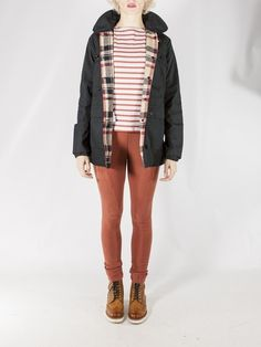 red & white striped shirt + dark jacket w/ flannel lining + colored jeans + ankle boots Girl Outfits, Fashion Outfits, Womens Fashion, Red White Striped Shirt, Sartorialist, Winter Wear, Playing Dress Up, Well Dressed, Outfit Of The Day