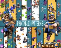 Clash Royale Printable Cupcake Toppers or Photo Props Clash Clash Royale, Photo Props, Photo Booth, 10th Birthday, Birthday Cakes, Birthday Ideas, Clash Games, Royal Party, Clash Of Clans