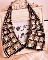 1pcs New 2014 Fashion Jewelry For Women Black Base Shiny Beads Peaked Lapel Style False Collar Necklaces, $8.20 / piec
