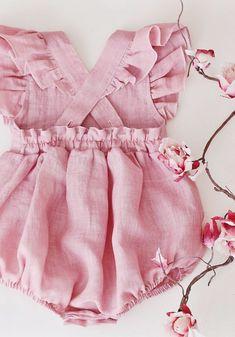 Handmade Vintage Style Flutter Sleeve Linen Baby Romper | RockyRacoonApparel on Etsy #handmadebaby
