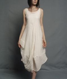 Irregular Rose Bud Hem Sleeveless Linen Dress Custom-Made Fast Shipping