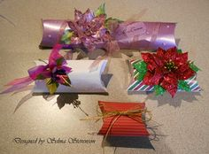 I promised to show you pillow boxes I created with the We R Memory Keepers Pillow Box Punch Board . I am so totally impressed with all . Dyi Crafts, Paper Crafts, Envelope Punch Board Projects, Envelope Maker, Gift Wraping, How To Make An Envelope, Pillow Box, Beading Projects, Craft Fairs